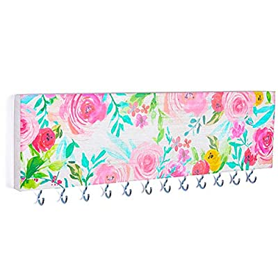 FIOBEE Jewelry Organizer Holder for Girls Room, Wall Necklace Bracelet Hanger Girls Room Decor with Hooks Wall Mounted Holder for Rings Watches Accessories