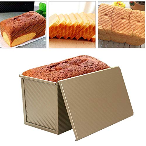 Loaf Pan Nonstick Carbon Steel Bread Loaf Pan with Cover Bread Toast Mold Non Stick Gold Aluminium Alloy Mould 8.35x4inch (gold)