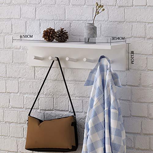 WWWANG Houten Hangende muur hanger - Planken Hanger Op deur van de slaapkamer, Wand Rekken for wandmontage kapstok met haak (Color : White, Size : 50cm)