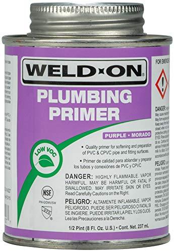 Weld-On 14027 Plumbing PVC/CPVC Primer - Fast Acting and Low VOC, Purple, 1/2 Pint (8 fl oz)