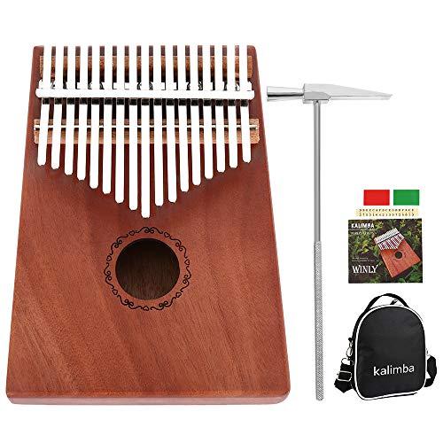 Lovestoryeu Kalimba Daumen-Klavier mit 17 Tasten, Stimmhammer und Zubehör ideal für Anfänger und Spezialisten Peachwood