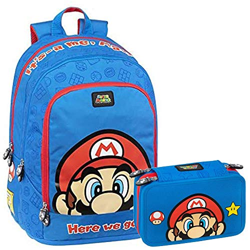 Super Mario Schoolpack Schulrucksack mit 3 Reißverschlüssen und Federmäppchen mit 3 Reißverschlüssen