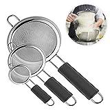 Ipow [3 PCS] Colador de alimentos para cocina con asas gruesas antideslizantes de acero inoxidable de alta calidad de malla fina, juego de coladores y tamizadores