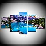 DGGDVP 5 Panel Poster Picture Moraine Lake Banff National Park Imprimir en Lienzo Pinturas para Dormitorio Decoración Modular Pintura Tamaño 2 con Marco