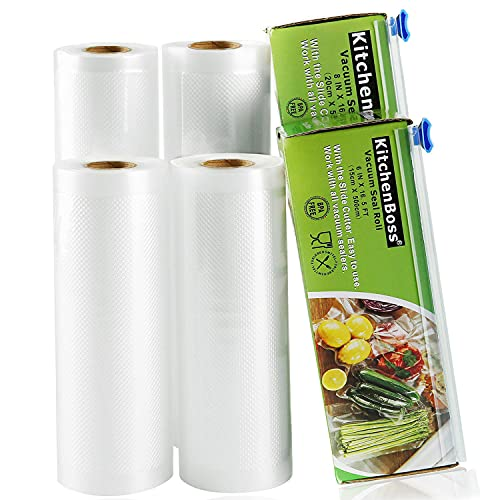 KitchenBoss Bolsas de Vacío Profesional 4 Rolls 15x500cm y 20x500cm con Caja de Corte (No Más Tijeras) para Almacenaje de Alimentos,Sous Vide Cocina, BPA Free