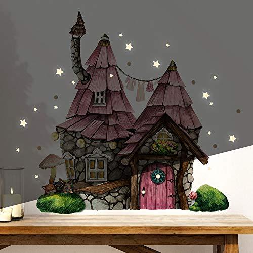 Elfentür Wichteltür Feentür Wandtattoo Elfenhäuschen mit Tieren auf Mooshügel im Wald + Leuchtsticker e37 - ausgewählte Farbe: *ohne Holztür*