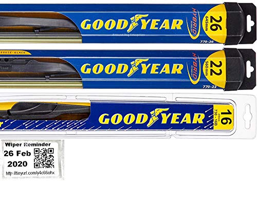 Windshield Wiper Blade Set/Kit/Bundle for 2005-2019 Honda Odyssey - Driver, Passenger Blade & Rear Blade & Reminder Sticker (Hybrid with Goodyear Rear)