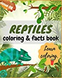 REPTILES COLORING & FACTS BOOK: learn coloring!: Animals like:...