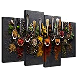 wall art for kitchen - iHAPPYWALL Kitchen Pictures Wall Decor 4 Pieces Couful Spice in Spoon Vintage Canvas Wall Art Food Photos Painting On Canvas Stretched Framed Home Decoration Gift Ready to Hang
