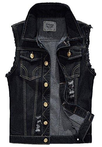 Sawadikaa Heren Vintage Denim Vest Jean Jas Taillejas Cowboy Jas Bovenkleding