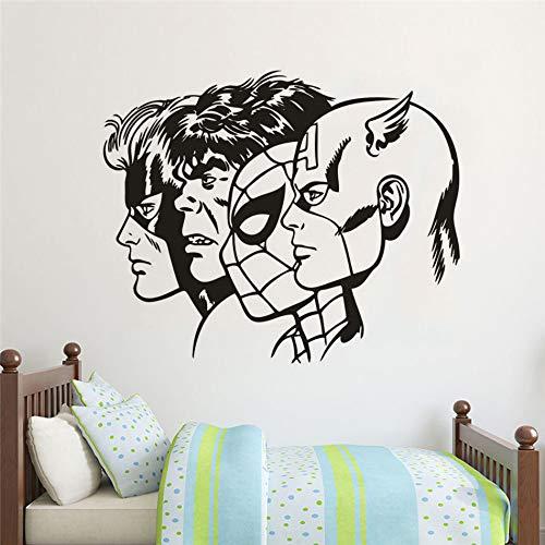 Geiqianjiumai Wandsticker voor de kinderkamer, slaapkamer, vinyl, muurkunst, superheld kapstok, muurschildering