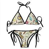 Sdltkhy Costumi da Bagno Bikini da Donna Bikini, Badminton e Biciclette Costumi da Bagno Morbidi da Spiaggia