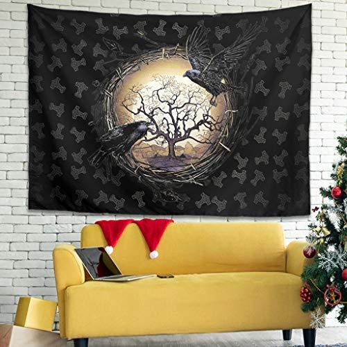 Tentenentent Gothic Raben in der nordischen Mythologie Viking Wandteppich Tapisserie Tuch - Wall Hanging Yoga Mat, Home Dekor für Raumdekoration White 150x130cm