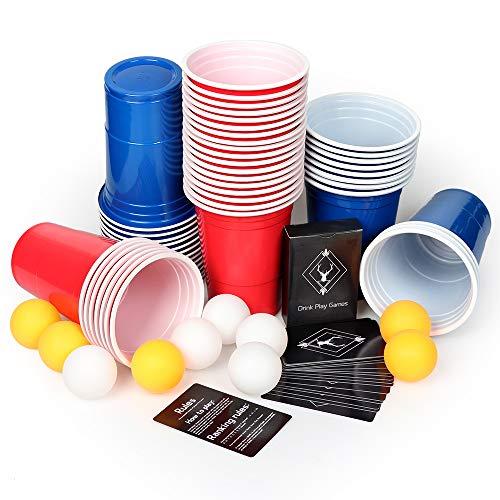 AOLUXLM Bierpong Becher Set Beer Pong Cups für Tisch mit Trinkspiel Karten 480ml/16OZ Rote Becher Red Cups 25 rote+ 25 Blaue Becher +10 Bälle