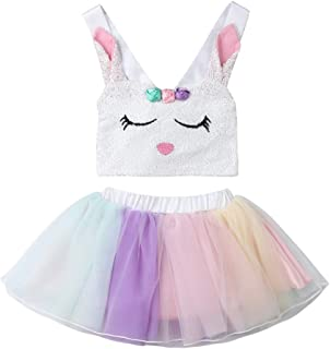 2Pcs Toddler Kids Baby Girls Halloween Outfits Set Skull Tops+Tutu Skirt Clothes Halloween Costumes 6M-5T