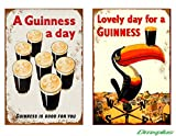 Mariap Retro Tin Sign Wall 2Pcs My Goodness My Guinness Style 2 12x16inches Chic Drinking Shop Art Decor Living Wall Outdoor Poster