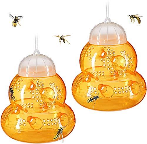 FHYT Wespenfalle Set 2pcs Wespenfänger, Bienenfalle, gelbe Jackenfalle, Obstfliegenfalle, Hornfalle, Indoor, Outdoor, Sanduhrform