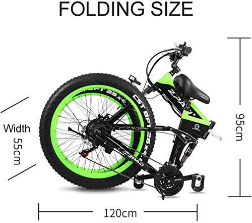 Shengmilo Vélos électriques 26 Pouces, Vélo de Montagne électrique Pliant, Vélo électrique à Pile 1000W 48V13ah, Vélo électrique pour Hommes Femmes (Vert)