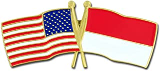 PinMart USA and Indonesia Crossed Friendship Flag Enamel Lapel Pin