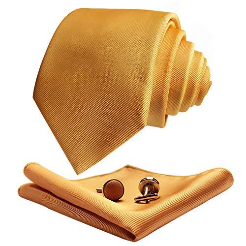 CANGRON Corbata Extra Larga Dorada para Hombre 160 cm de largo con corbata con bolsillo cuadrado Gemelos Caja de regalo DLSCLJI