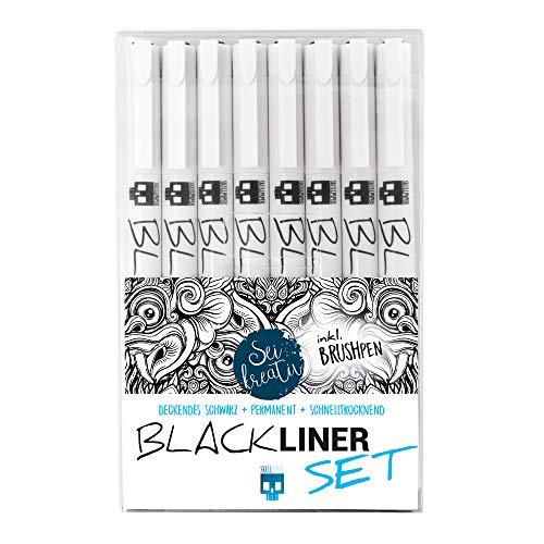 SKULLPAPER® Blackliner Set - 8 Stück inkl. Brushpen - schwarz, wasserfest schnelltrocknend deckend lichtecht hochpigmentiert für Bullet Journal, Skizze
