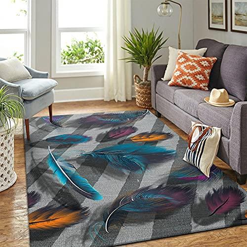 DRTWE Living Room Large Size Carpet Soft Anti-Skid Velvet Area Rug Colorful Feather Printed Carpet Runner Kid'S Room Nursery Floor Pad Indoor Outdoor Play Mat,140 * 200Cm
