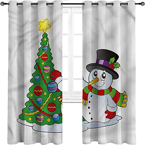 Kids Blackout Curtains, Snowman Room Darkening Thermal Insulated Grommet Drapes, Lovely Xmas Tree Winter Set of 2 Panels, 108 Width x 72 Length