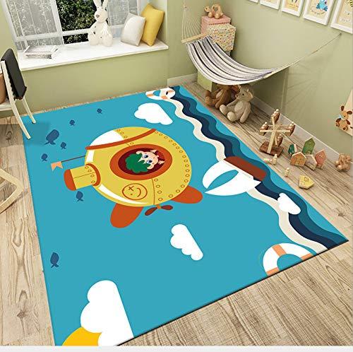 Karikatur Blauer Ozean U-Boot Junge Gedruckt Teppich, Kinder Kriechen Kleinkind Teppich, Kinderzimmer Nachtbett Großen Teppich 80cmx120cm