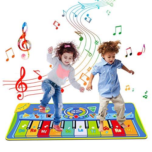 Tyhbelle Klaviermatte, Musikmatte Babys Tanzmatte mit 8 Musikinstrumente Spielmatte 5 Mode Dance für Jungen und Mädchen 130cm x 48cm