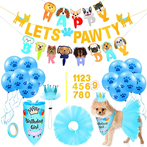 Dog Birthday Party Supplies Decoration Include Tutu Skirt Crown Hat 0-8 Figure Pet Happy Birthday Triangle Scarf Let's Pawty Banner and 10 Pieces 10 Inch Paw Print Balloons for Pet (Blue)