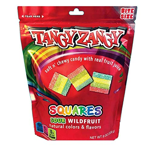 TANGY ZANGY Sour Candy   Soft + Chewy Gummies with Natural Colors + Flavors (Sour Wild Fruit Squares   4 Pack)