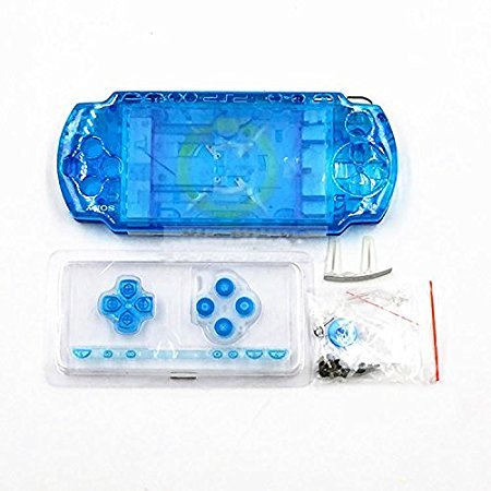 New Replacement Sony PSP 2000 Console Full Housing Shell Cover with Button Set -Clear Blue.