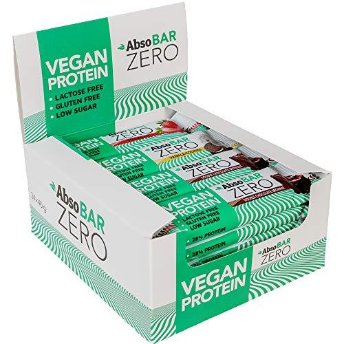 AbsoBAR Zero 24 Proteinriegel (24x40g) mit veganen Proteinen, 8x Schoko, 8x Erdbeere, 8x Vanille-Cookies Geschmack, hochwertiger pflanzlicher Eiweißriegel aus Reis- und Erbsenproteinen