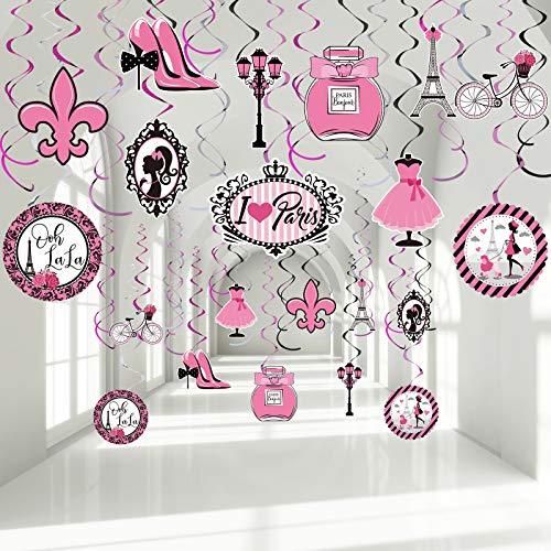 30 Decoraciones de Fiesta de Paris, Remolino de Colgante de Fiesta Paris Rosa Serpentinas de Techo de Papel de Aluminio de Señal de Ooh La La Torre Eiffel para Suministros Fiesta Cumpleaños