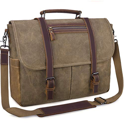 Mens Laptop Messenger Bag Waterproof Computer Leather Satchel Briefcases Vintage Canvas Shoulder Bag Large Work Bag 15.6 inch Khaki