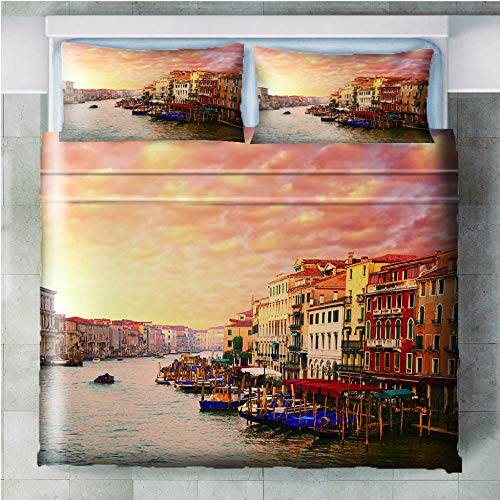 GenericBrands 3 piece bedding set Venice town sunset - 140x200cm(55x79 inch) 3 Pieces Bedding Set with 2 Pillowcases Duvet Cover with Zipper Closure Soft Microfiber Quilt Cover