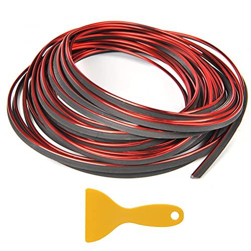 NA YANSHON Molduras Decorativas para Interior de Coche 10M Tira de Acabado para Decoración Automóvil Línea de Decoración Flexible Ajuste Universal para la Mayoría de los Automóviles (Rojo)