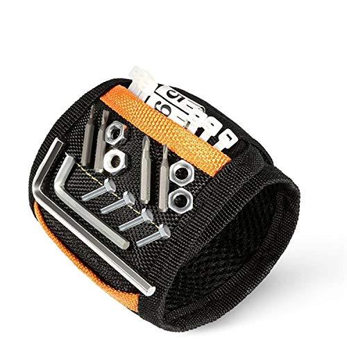 Senders Magnetisches Armband - Geschenk für Männer mit 15 kraftvollen Magneten verstellbares Klettband Magnetarmband zum Halten von Werkzeug/Schrauben/Bohrer/Nägel, Papa Geschenk