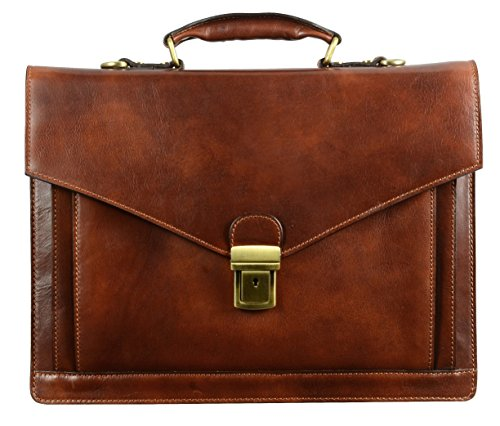 Leather Briefcase for Men Handmade Italian Laptop Bag Classy Brown Attache Case - Time Resistance
