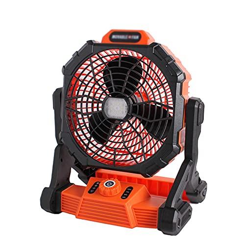 BERJMA Ventilador al Aire Libre con Linterna transfronteriza regulación de Velocidad de Litio batería de Litio pequeño Ventilador portátil Grande Viento Carga Acampada ilum Black Orange