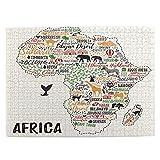 LiBei Puzzle 500 Piezas Adultos,Rompecabezas,Cartel de tipografía.Mapa de África.Guía de Viaje de África,Juegos Educativos,Entretenimiento Adultos,Niños y Adolescentes,Divertido Regalo