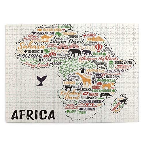 Puzzle 500 Piezas Adultos,Rompecabezas,Cartel de tipografía.Mapa de África.Guía de Viaje de África,Juegos Educativos,Entretenimiento Adultos,Niños y Adolescentes,Divertido Regalo
