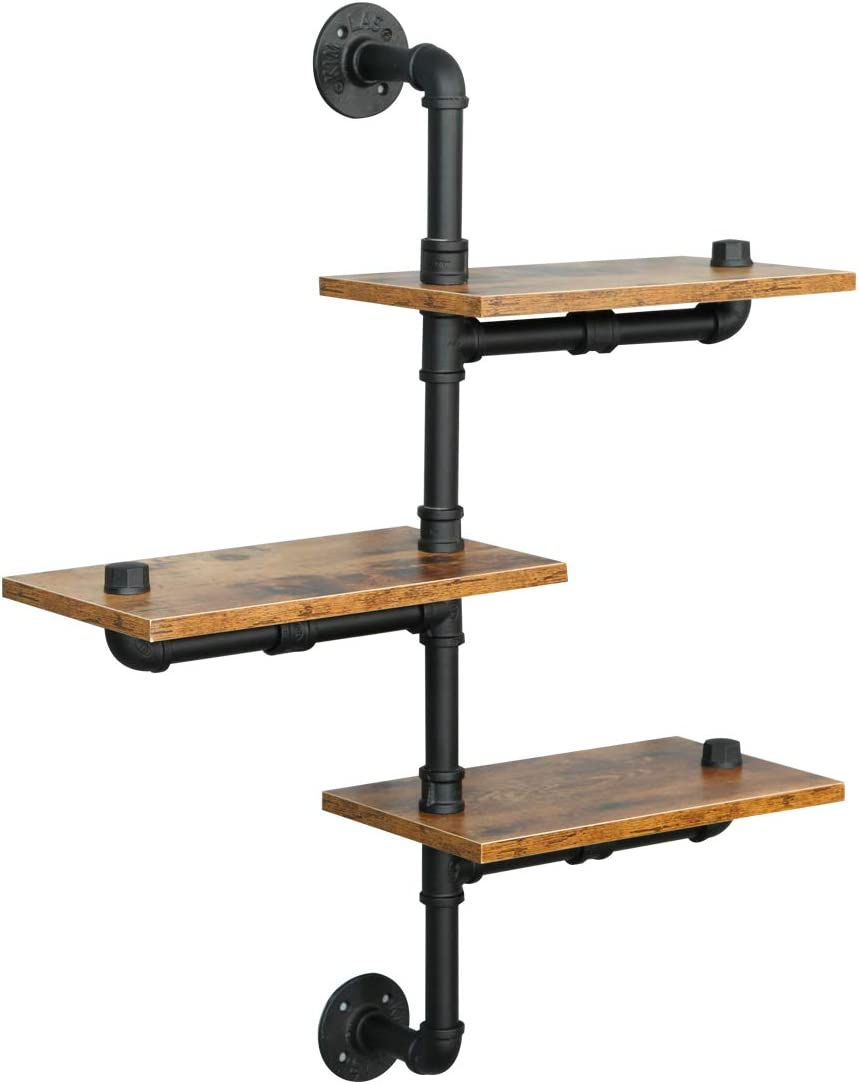 HEONITURE Industrial Pipe Shelving, Pipe Shelves with Wood Planks, Floating  Shelves Wall Mounted, Retro Rustic Industrial Shelf for Bar Kitchen Living  ...