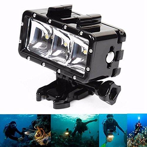 Bazaar 30m 3 LED onderwaterdompellicht + 1050mA batterij voor GoPro Hero 4 3 + 3