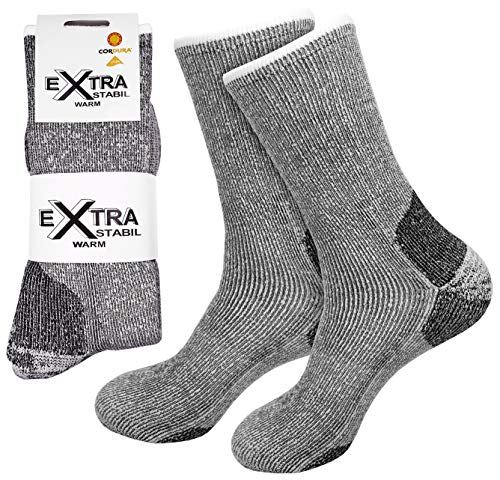etrado fashion 1 Paar - Extrem robuste und wärmende Vollplüschsocken mit Alpakawolle und CORDURA® (1 Paar/43-46 Grau)