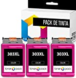 TONERPACK® HP 303 303XL Cartuchos de Tinta Compatible, Pack 3 Cartuchos HP 303XL Color para impresoras Envy Photo 6220 All-in-One, 6230, 6232, 6234, 7130,7134, 7830