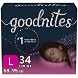 Goodnites Nighttime Bedwetting Underwear, Girls' L (68-95 lb.), 34 Ct