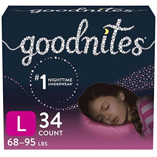 Goodnites Nighttime Bedwetting Underwear, Girls' L (68-95 lb.), 34 Ct