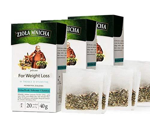 8238, Hierbas del Monje para adelgazar - Juego de 3 paquetes, HERBAPOL, 3 x 40 g (20 bolsas x 2 g), Infusión de hierbas con té rojo, yerba mate y L-carnitina