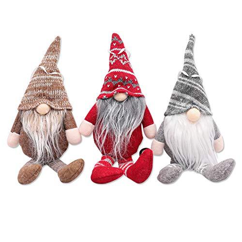 REYOK 3pcs Weihnachtswichtel Häkeln Plüsch Stehend Weihnachts Stoff Zwerge Wichtel Weihnachtsbaumschmuck Fenster Tür Set Kamin Weihnachtsdeko